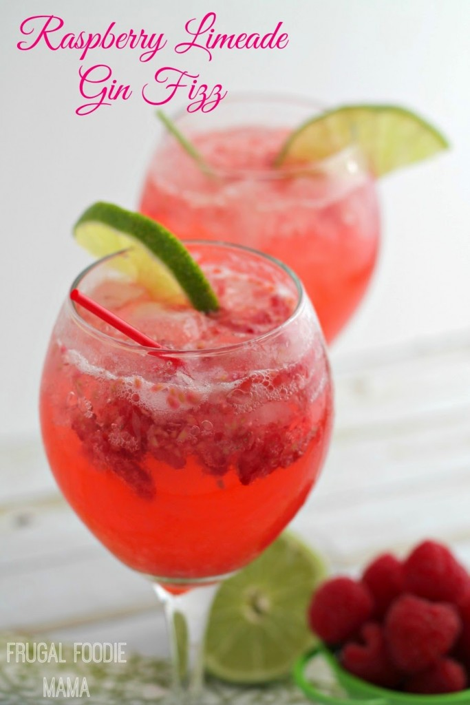 Raspberry Limeade Gin Fizz Cocktail #21+ #SoFab #ad