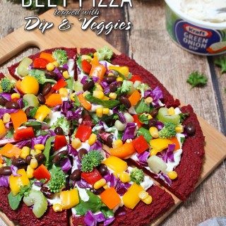Beet Pizza with Dip Sauce, Vegetables, and Bean