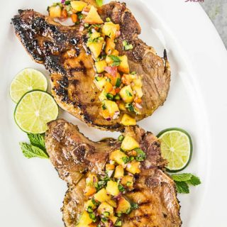 Grilled Pork Chops with Ginger and Honey Glaze