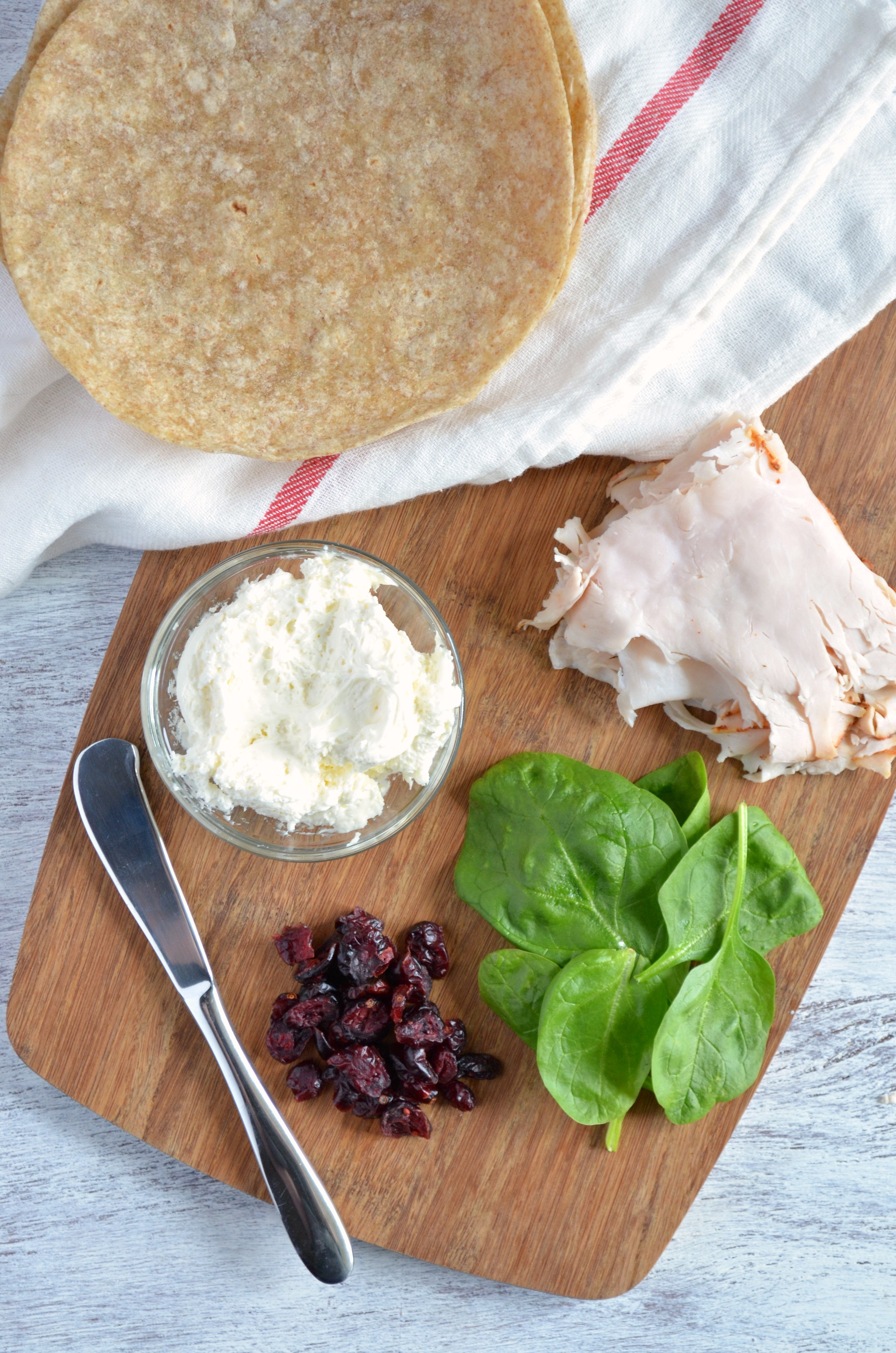 Turkey, Spinach and Cranberry Wraps