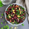 Warm Honey Ginger Beet Kale Salad With Walnuts