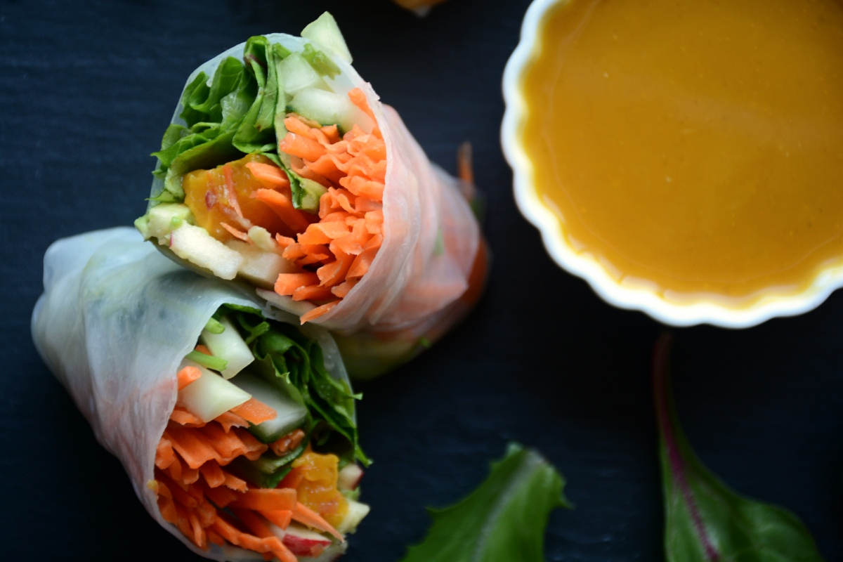 Winter Veggie Salad Rolls with Warming Roasted Pumpkin Curry Sauce
