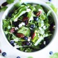 Satisfy your cravings with a delicious Caramelized Pecan Arugula Salad full of fresh blueberries, tangy goat cheese, and a drizzle of balsamic vinaigrette. The next time you want a simple, seasonal lunch, this is the salad for you.