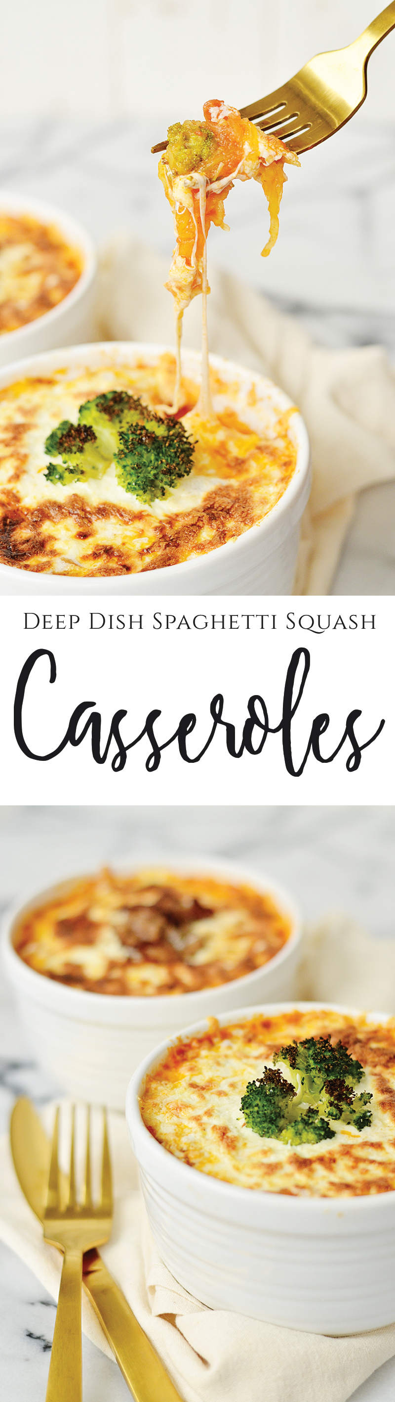This beautiful Deep Dish Spaghetti Squash Casserole recipe is packed with layers of tender spaghetti squash, pizzeria-inspired toppings, and savory mozzarella. Satisfy your pizza cravings with this easy recipe that is low-carb, high flavor, and almost healthy!