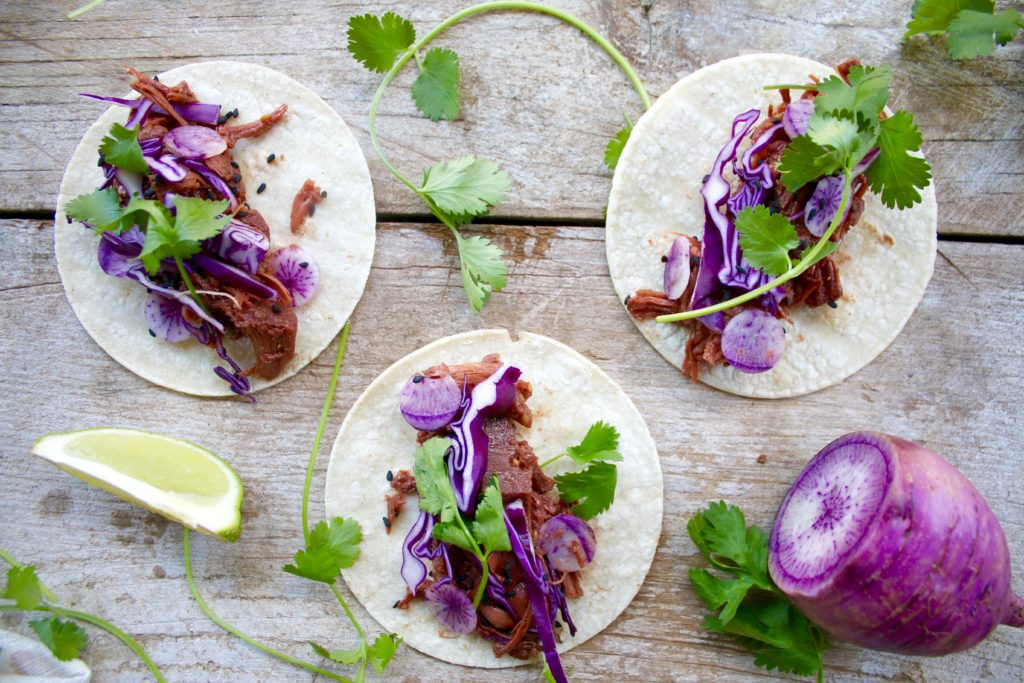 These Korean BBQ Tacos look like they're made with delicious, tender pulled pork, but they are actually made using jackfruit. This vegan delight is a healthier version of your favorite tacos that will impress even the meat lovers in your life!