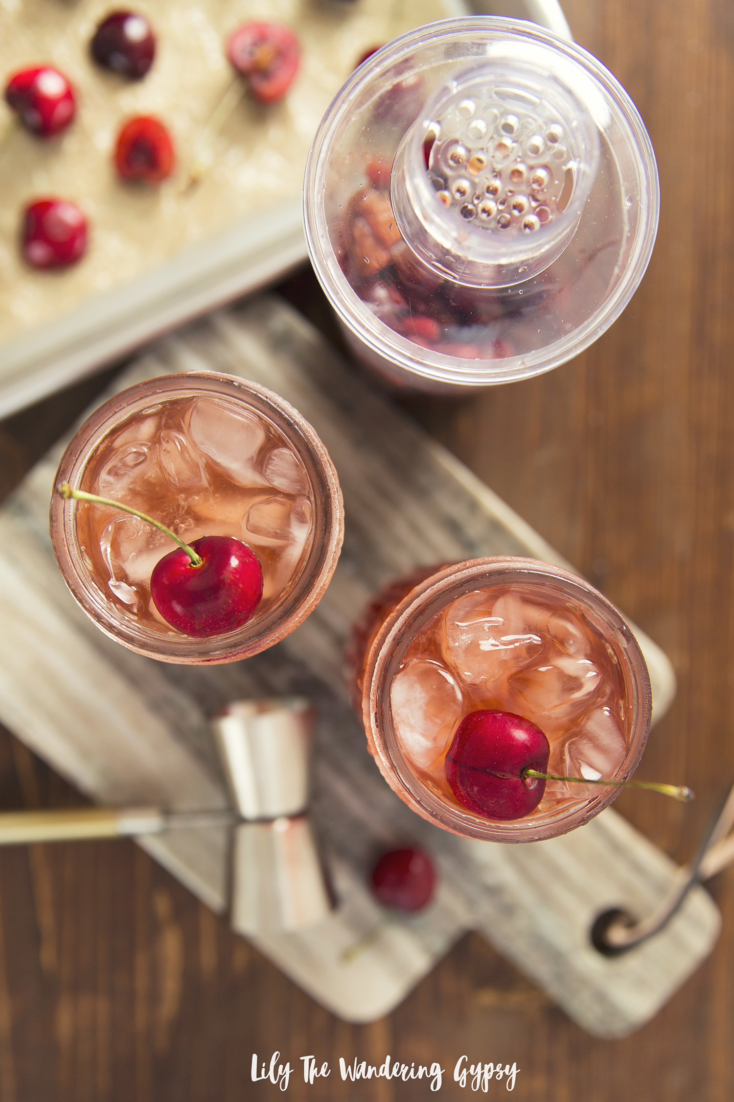 Cherry Bourbon Smash Cocktail Recipe
