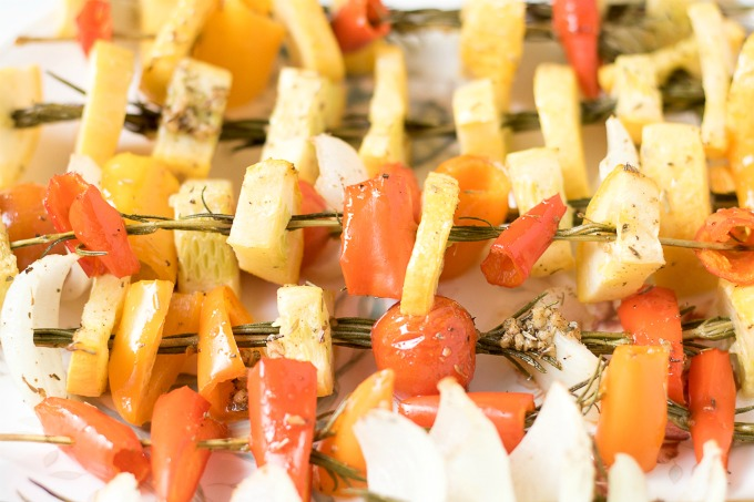 These delicious Baked Rosemary Vegetable Skewers made with garden fresh summer vegetables the perfect way for you to enjoy seasonal produce.