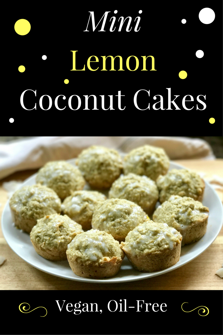Oil Free Mini Vegan Lemon Coconut Cakes are perfect for entertaining or as a light, simple snack. Serve with coffee or tea and share with someone special!