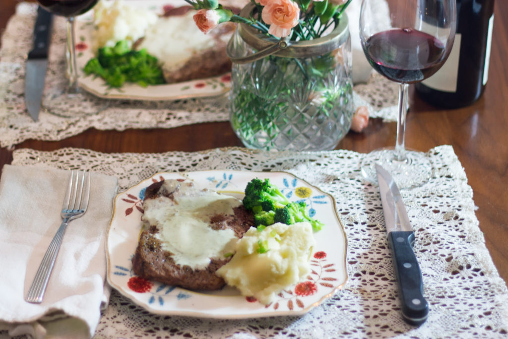 Enjoy a romantic dinner for two with this Pan-Seared Ribeye with Creamy Gorgonzola Sauce. This savory steak with creamy cheese sauce will bring out the romance in any date night at home.