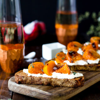Roasted Persimmon Burrata Crostini