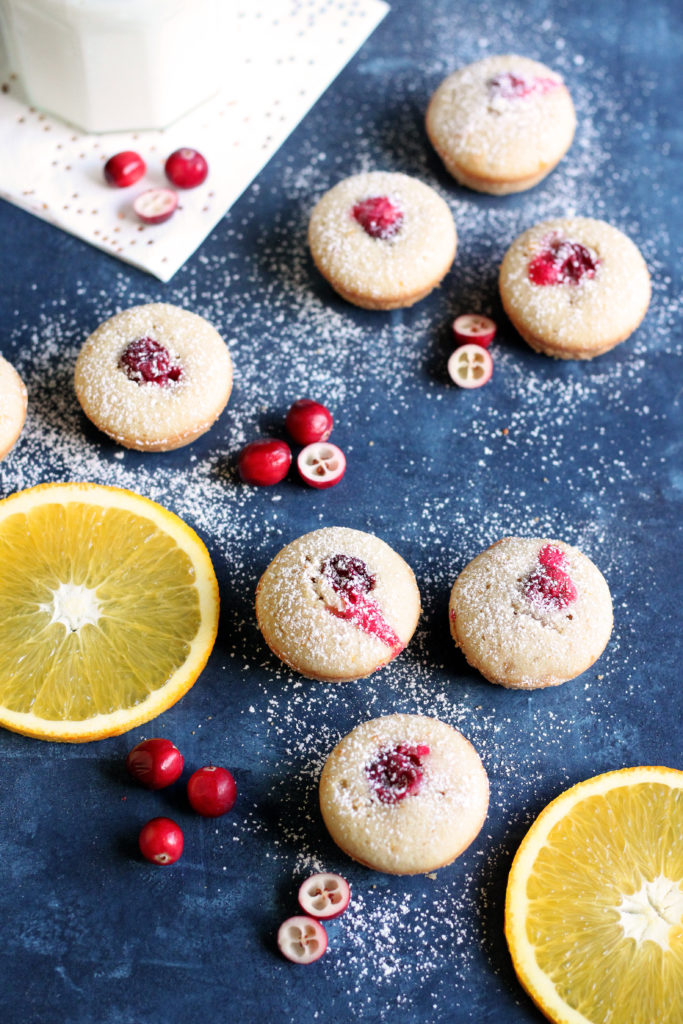 These bright, tart Orange Cranberry Financiers are bursting with flavor and made with less than 10 ingredients. This one-bite dessert is the perfect way to enjoy something delightfully sweet without all of the guilt!